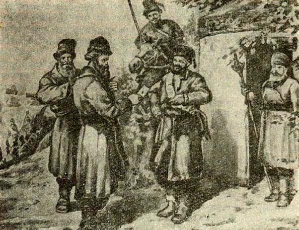 Встреча Хлопуши с Пугачевым. Картина В. Тельнова
