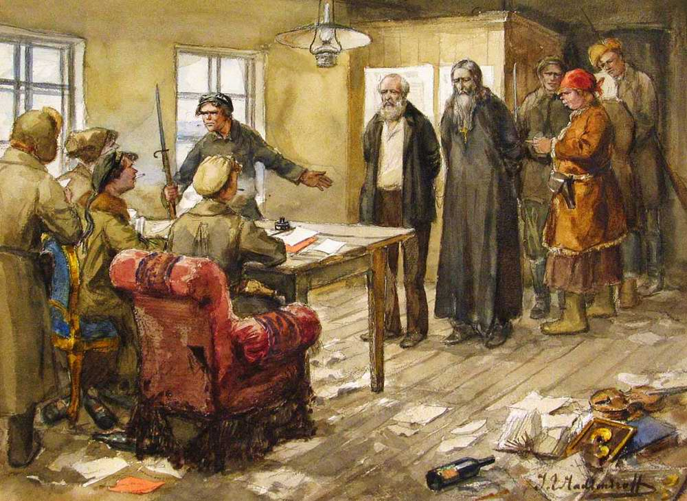 Допрос в комитете бедноты Иван Алексеевич Владимиров (29 декабря 1869 (10 января 1870) — 14 декабря 1947)