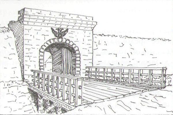 Сакмарские ворота, схема 1801 года. Это были главные ворота крепости, поэтому на них царский герб. Общая высота — 7,7 метра, высота проема — 4 метра. Мост еще деревянный, позже он стал каменным, согласно записям путешествовавшего иностранца Т.Ю. Базинера. Материал постройки — предположительно, красный песчаник.
