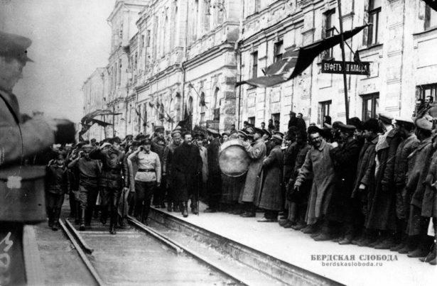 Встреча М.И. Калинина на вокзале Оренбурга, сентябрь 1919 года