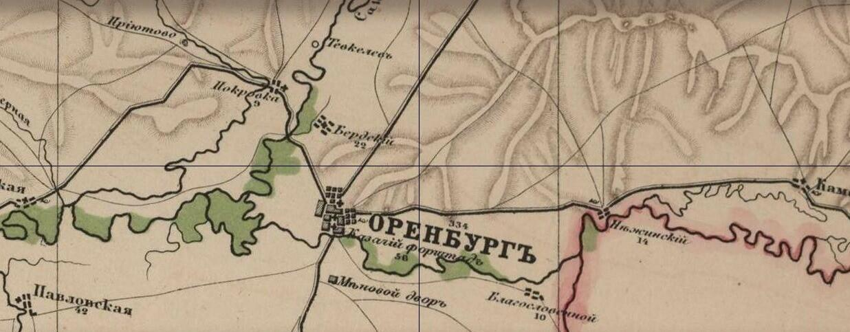 Поселок Бердский на фрагменте карты 1872 года