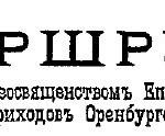 Маршрут Его Преосвященства Епископа Оренбургского и Уральского