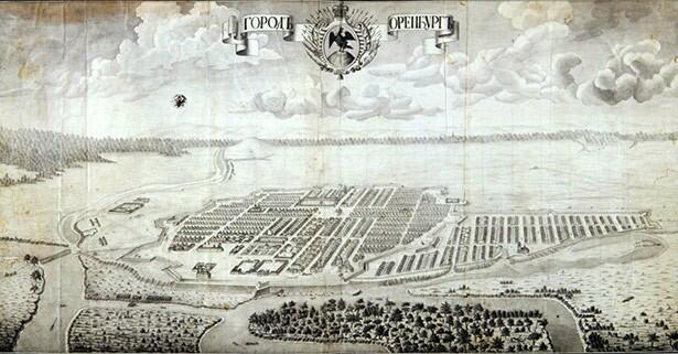 План-перспектива Оренбурга и его окрестностей, выполненная в 1760 году инженером-капитаном А.И. Ригельманом.