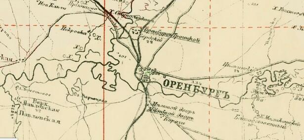 Поселок Бердский на фрагменте карты 1919 года Оренбургской губернии