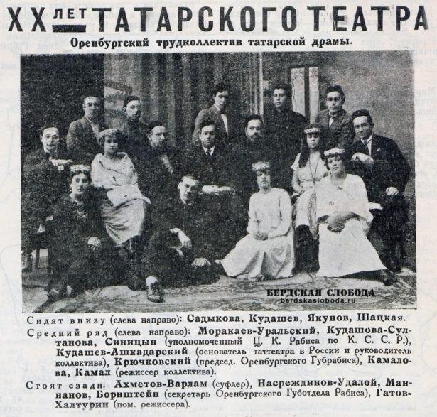 Коллектив оренбургского татарского театра, 1925 год