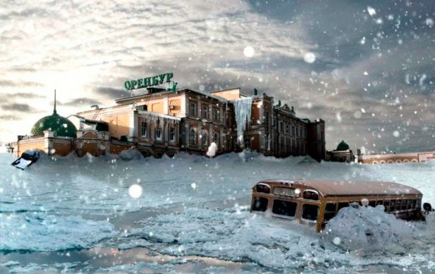 Занесенный снегами Оренбургский железнодорожный вокзал