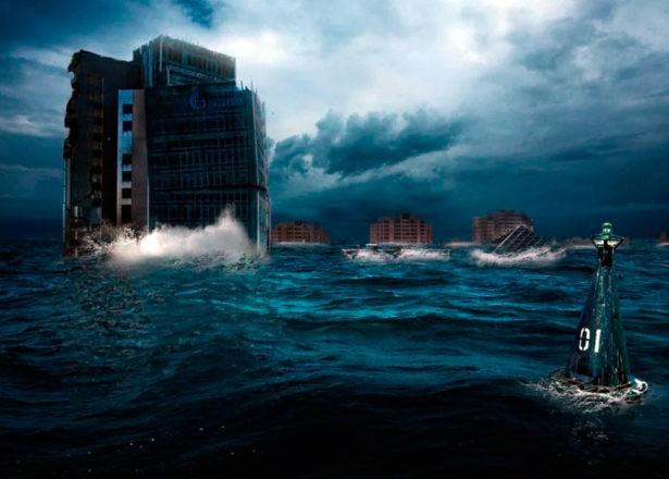 Затопленное водами мирового океана здание Оренбургского Газпрома