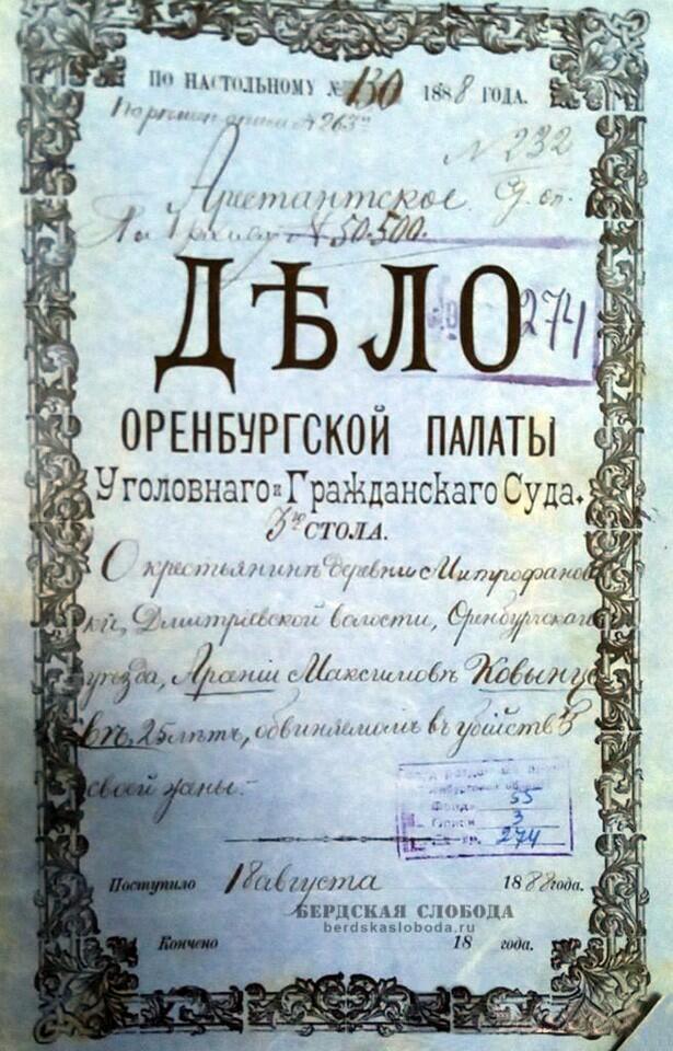 Обложка уголовного дела. заведенного 133 года назад