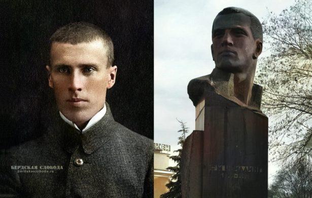 Прижизненный портрет С. М. Цвиллинга (1891–1918)и памятник, установленный ему в Челябинске.