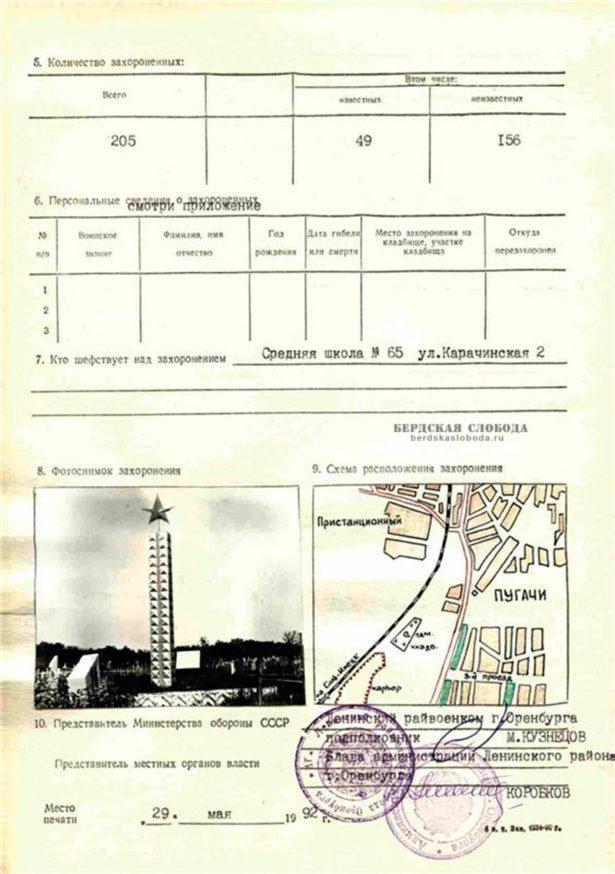 Оборотный лист учетной карточки воинского захоронения близ горы Сулак