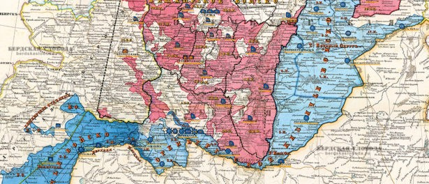 Фрагмент карты земель Оренбургского, Уральского и Башкирского казачьих войск 1858 года