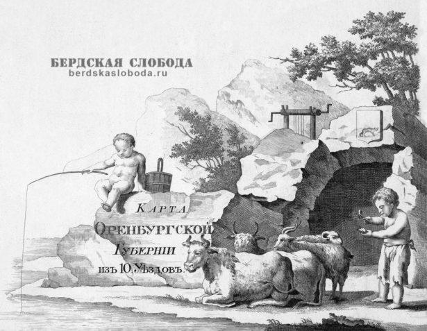 Фрагмент карты Оренбургской губернии А. Вилбрехта 1800 года