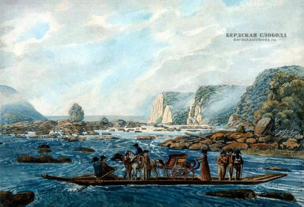 Сцена переправы на Саскуэханне в Райтс–Ферри, близ Гавр-де-Грас, Павел Свиньин, ок. 1811 - 1813 гг