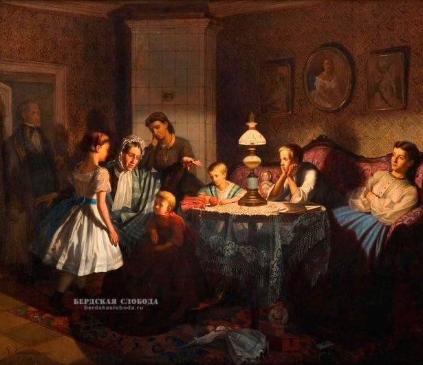 А.А. Красносельский Бабушкины сказки. Холст, масло. 1866 г.
