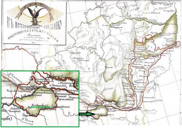 Поселок Мертвецовский на карте земель Оренбургского казачьего войска 1891 года