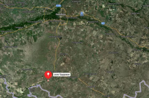 Село Трудовое (бывший форпост Мертвецовский) на спутниковой карте