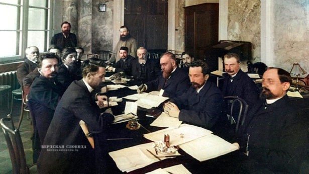 Группа депутатов Первой Государственной Думы во время совещания. 1906 год, ЦГАКФФД, Санкт-Петербург