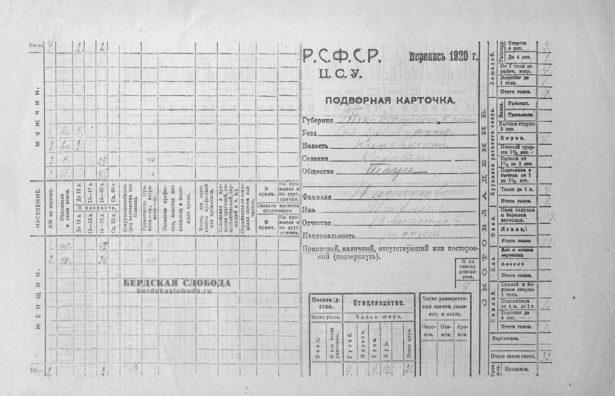Так выглядела подворная карточка переписи 1920 года. РСФСР