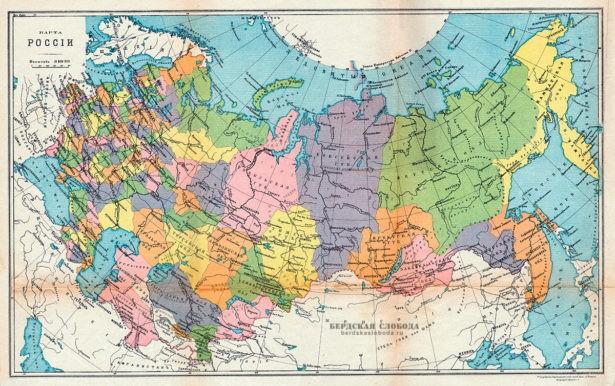 Карта России (административно-территориальное деление Российской империи) 1914 года